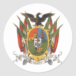 Transvaal Coat of Arms, South Africa: Pre-Boer War Classic Round Sticker