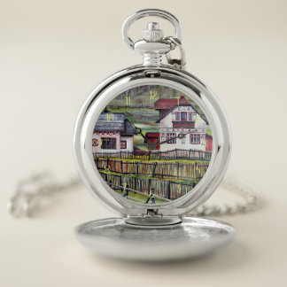Transylvania, Romania, Picturesque Painted Scenery Pocket Watch
