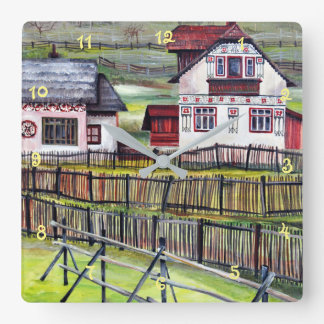 Transylvania, Romania, Picturesque Painted Scenery Square Wall Clock
