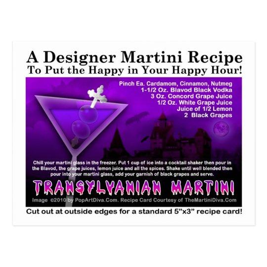 Transylvanian Halloween Martini Recipe Postcard