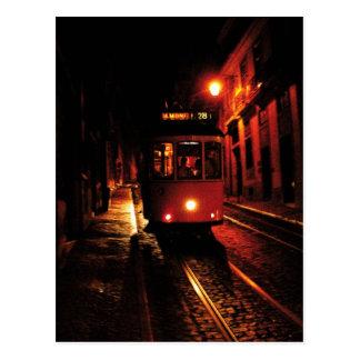 Tranvía de la noche en Lisboa Postal