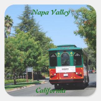 Tranvía de Napa Valley Pegatina Cuadrada