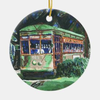 Tranvía de New Orleans Adorno Redondo De Cerámica