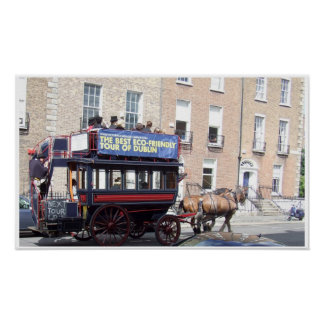 Tranvía del caballo de Dublín Irlanda Poster