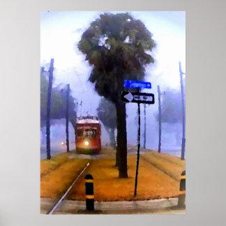 Tranvía del canal, mañana de niebla poster