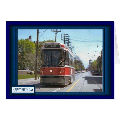 Tranvía en ciudad tarjeta de felicitación