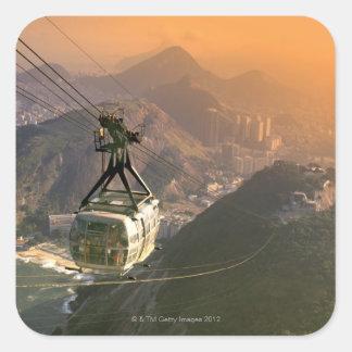 Tranvía en Río de Janeiro, el Brasil Pegatina Cuadradas Personalizada