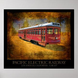 Tranvía ferroviario eléctrico pacífico póster