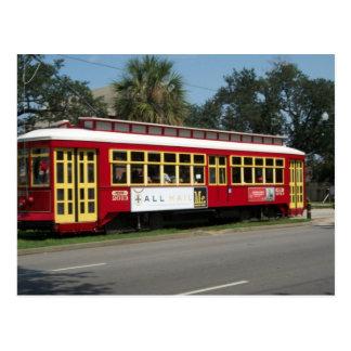 Tranvía rojo tarjeta postal