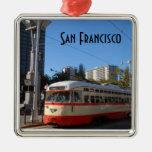 Tranvía San Francisco Adorno Navideño Cuadrado De Metal