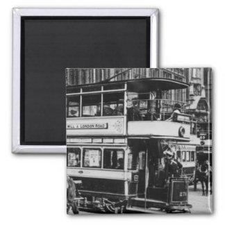 Tranvías en Manchester, c.1900 Imán Cuadrado