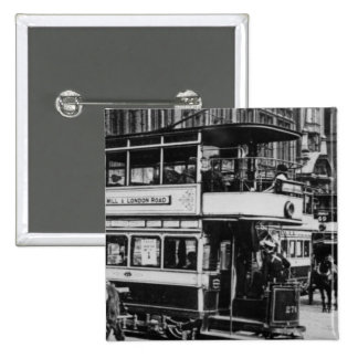 Tranvías en Manchester, c.1900 Pin Cuadrado