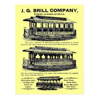 Tranvías y carretillas de Brill Company Postales