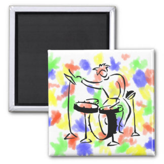 Trap set drummer abstract bw sketch design 2 inch square magnet