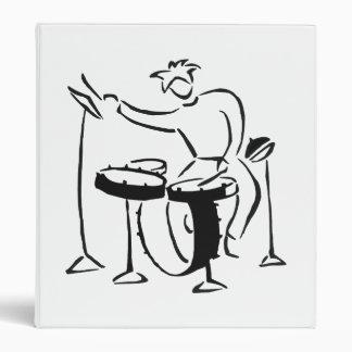Trap set drummer abstract bw sketch design 3 ring binder