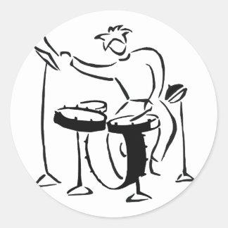 Trap set drummer abstract bw sketch design classic round sticker