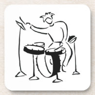 Trap set drummer abstract bw sketch design beverage coaster