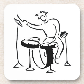 Trap set drummer abstract bw sketch design drink coaster