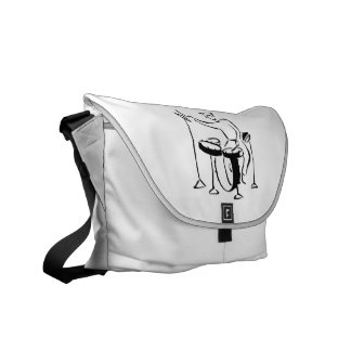 Trap set drummer abstract bw sketch design messenger bag