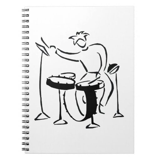 Trap set drummer abstract bw sketch design note books
