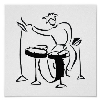 Trap set drummer abstract bw sketch design poster