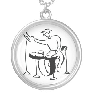 Trap set drummer abstract bw sketch design round pendant necklace