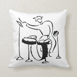 Trap set drummer abstract bw sketch design throw pillow