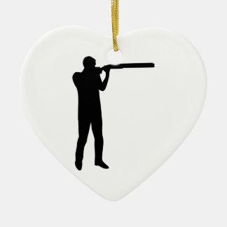 Trap shooting ceramic ornament