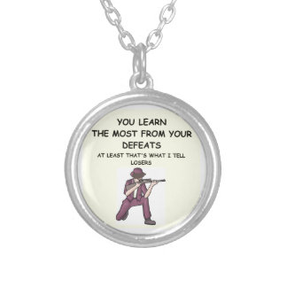 trap shooting round pendant necklace