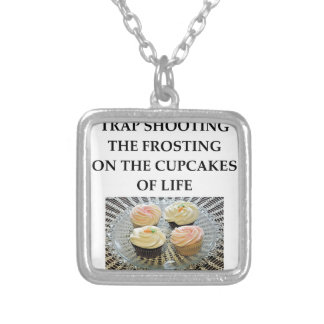 trap shooting silver plated necklace