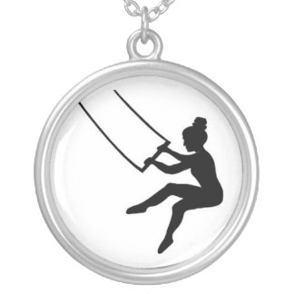 trapeze artist silver plated necklace