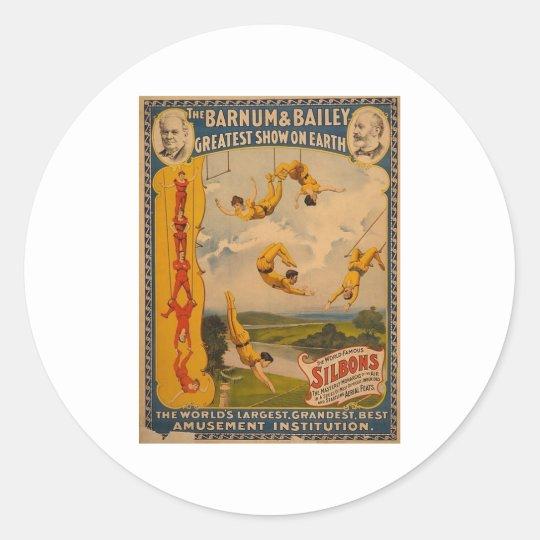 Trapeze artists Barnum & Bailey 1896 Classic Round Sticker