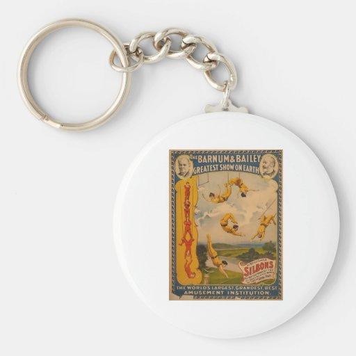 Trapeze artists Barnum & Bailey 1896 Basic Round Button Keychain