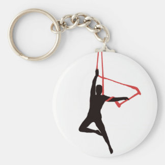 Trapeze Swing Aerialists Basic Round Button Keychain