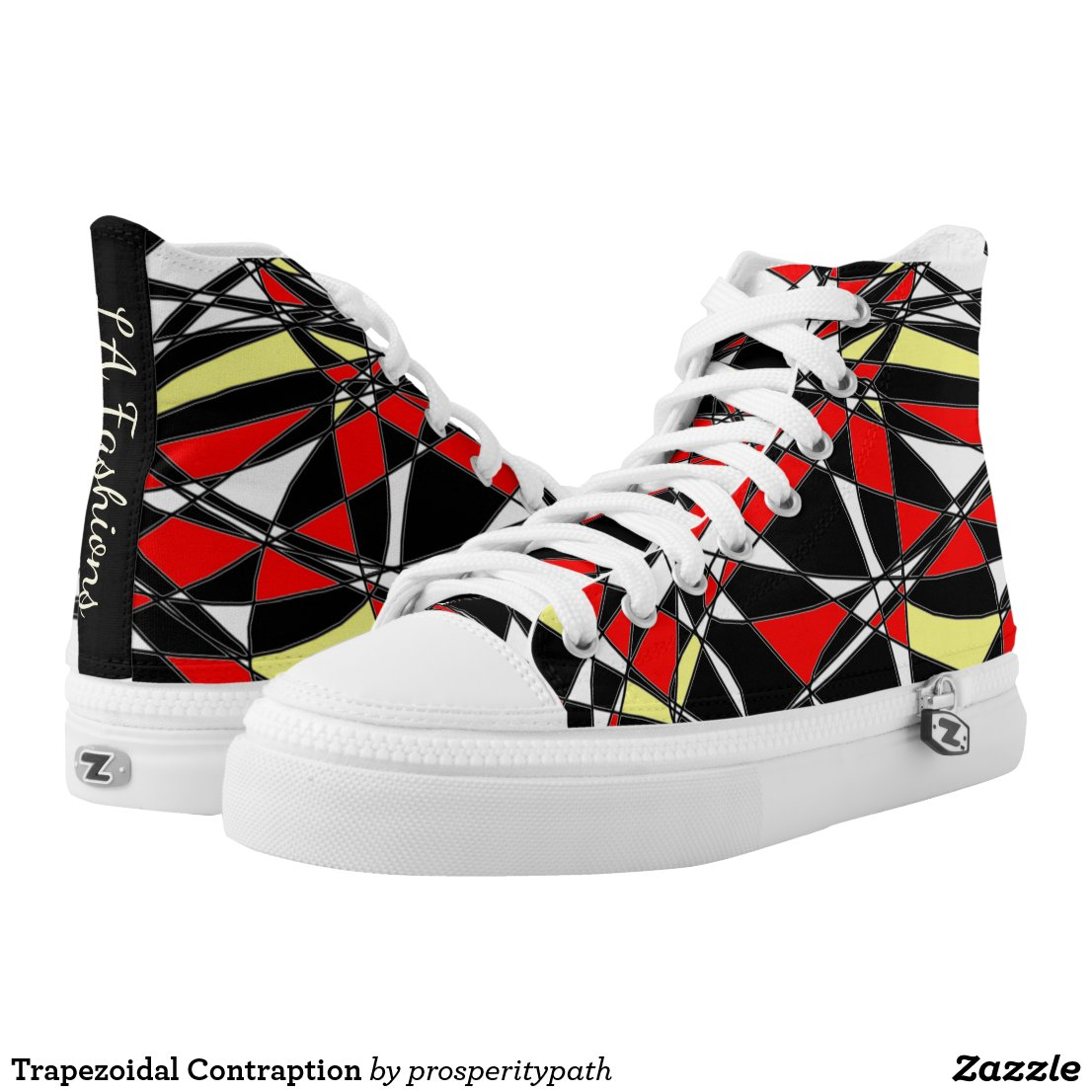 Trapezoidal Contraption High-Top Sneakers