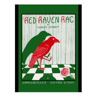 Trapo rojo del cuervo postales