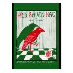 Trapo rojo del cuervo tarjetas postales