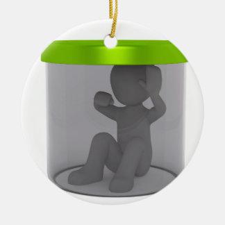 Trapped man ceramic ornament
