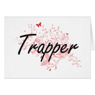 Trapper Artistic Job Design with Butterflies Card