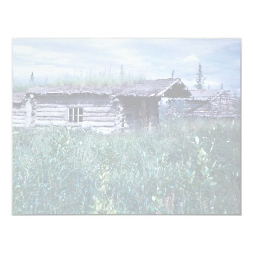 Trapper Cabin Along the Banks of the Coleen River 4.25x5.5 Paper Invitation Card