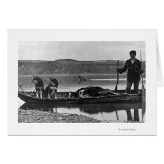 Trapper in Canoe with Hides and Dogs Alaska Card