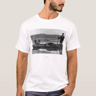 Trapper in Canoe with Hides and Dogs Alaska T-Shirt