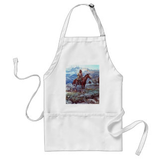trapper on horse adult apron