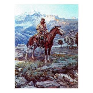 trapper on horse postcard