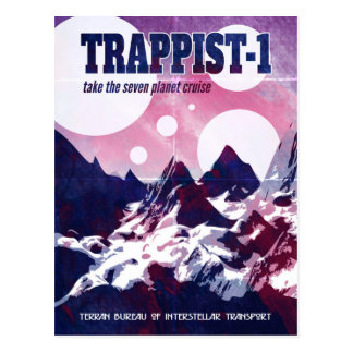 Trappist-1 Retro Space Cruise Postcard