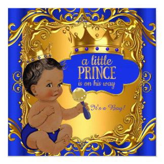 """Traqueteo azul del oro del príncipe fiesta de invitación 5.25"""" x 5.25"""""""