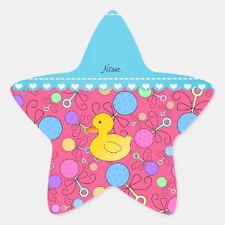 Traqueteos de goma conocidos de encargo del bebé pegatina forma de estrella personalizadas
