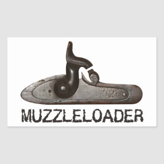 Trasero y martillo, rifle de Muzzleloader del Pegatina Rectangular