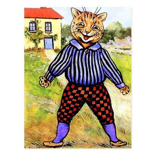 Traseros que llevan del gato de Louis Wain Tarjetas Postales