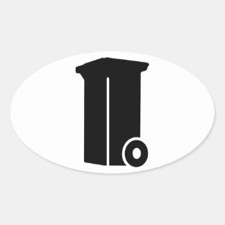 Trash bin oval sticker